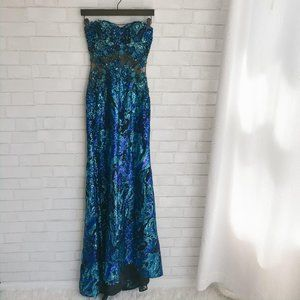 Cache Beaded Sequin Mermaid Strapless Gown Blue 0